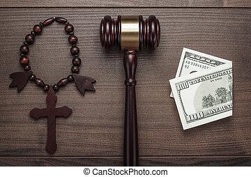 ブラウン, 木製である, お金, 交差点, 背景, 小槌, テーブル