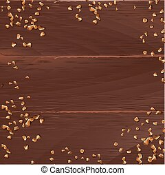 ブラウン, 木製である, ナット, 手ざわり, ベクトル, 背景, 地面