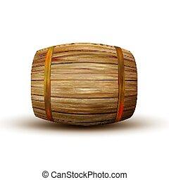 ブラウン, 木製である, 型, ベクトル, 樽, 側, あること, 光景