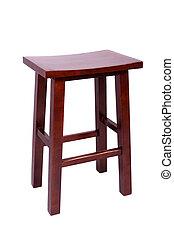 ブラウン, 木製である, 腰掛け, 隔離された, 単純である, 背景, 小さい, 白