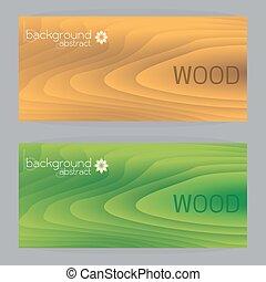 ブラウン, 木製フレーム, 2, 手ざわり, ベクトル, 緑の背景, 旗
