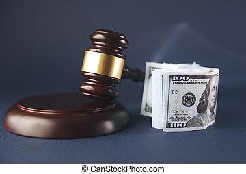 ブラウン, 概念, 木製である, お金, 小槌, 裁判官, テーブル