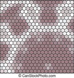 ブラウン, 灰色, 抽象的, -, 格子, 六角形, ハチの巣