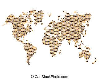 ブラウン, 点を打たれた, 地図, 隔離された, ベクトル, white., 世界