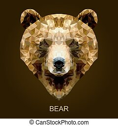 ブラウン, 現代, 熊, polygonal, ベクトル, style.
