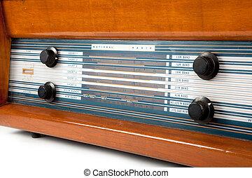 ブラウン, 白, ラジオ, レトロ, 背景