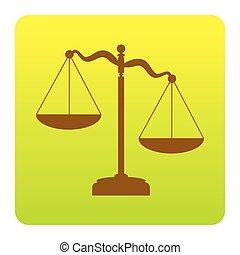 ブラウン, 緑の黄色, 広場, 円形にされる, スケール, isolated., コーナー, 印。, 勾配, 正義, バックグラウンド。, vector., 白, アイコン