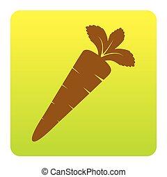 ブラウン, 緑の黄色, 広場, 円形にされる, illustration., バックグラウンド。, isolated., コーナー, 印, 勾配, ニンジン, vector., 白, アイコン