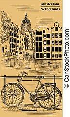 ブラウン, 自転車, アムステルダム