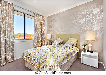 ブラウン, 色, ライト, 現代, ベッド, マスター, 贅沢, 装飾, 寝室, カーテン, 家