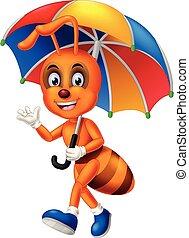 ブラウン, 蟻, 歩くこと, カラフルである, 傘, 漫画, 面白い