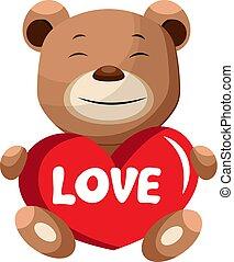 ブラウン, 言う, 保有物, 心, 熊, ベクトル, イラスト, 背景, 愛, 白