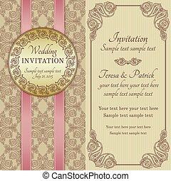 ブラウン, 金, 招待, ベージュ, 結婚式, バロック式