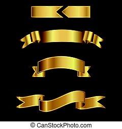 ブラウン, 金, background.ribbons, text., ベクトル, 入力, 旗, リボン
