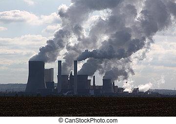 ブラウン, 鉱山, 開いた, 石炭