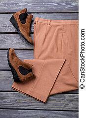 ブラウン, 靴, 平ら, lay., 対, スエード, ズボン