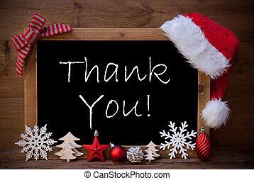 ブラウン, 黒板, ホリデー, 装飾, サンタの 帽子, クリスマス, 幸せ