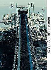 ブラウン, opencast, conveyor., mine., 石炭, ベルト