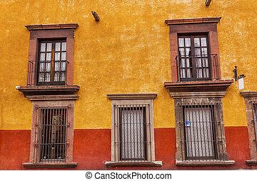 ブラウン, san, メキシコ\, 壁, 黄色, 窓, allende, miguel, 赤