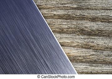 ブラシをかけられた金属, 木, 背景