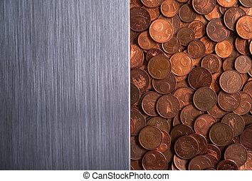 ブラシをかけられた金属, 通貨, 背景