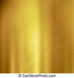 ブラシをかけられる, 金, 金属, 手ざわり, 背景