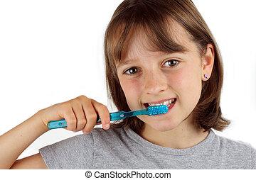 ブラシをかけること, 女の子, 彼女, 歯