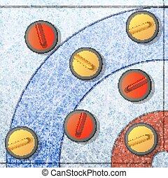 ブラシをかけること, 平ら, illustration., game., 石, 氷, 冬, ベクトル, カール, 競争, チーム, リンク, スリップ