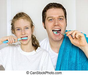 ブラシをかけること, 彼の, 娘, 父, 歯, bathroom.