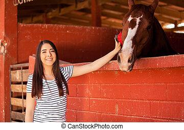 ブラシをかけること, 手入れをすること, 馬