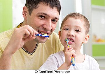 ブラシをかけること, 浴室, 彼の, 子供, 父, 歯