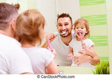ブラシをかけること, 浴室, 彼女, 家族, 子供, 父, 歯, 女の子, 歯ブラシ, 幸せ