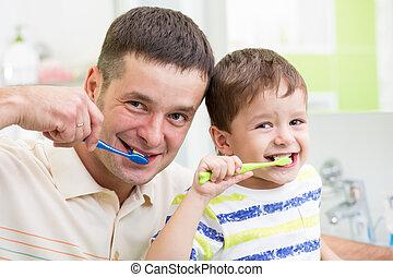 ブラシをかけること, 浴室, 歯, 父, 子供