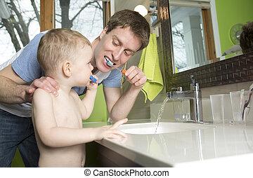 ブラシをかけること, 浴室, 歯, 父, 息子