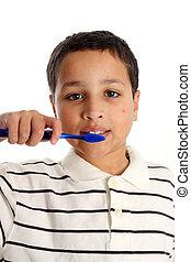 ブラシをかけること, 男の子, 歯