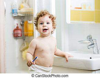 ブラシをかけること, 男の子, 浴室, 乳歯