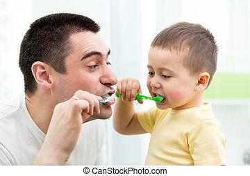 ブラシをかけること, 男の子, 浴室, 彼の, 歯, 子供, お父さん