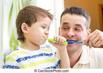 ブラシをかけること, 男の子, 浴室, 歯, 子供, 人