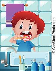 ブラシをかけること, 男の子, 浴室