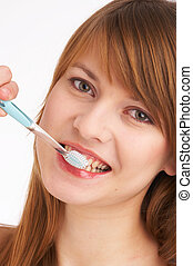ブラシをかける 歯, i