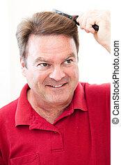 ブラシをかける 毛, 彼の, 人