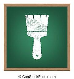 ブラシ, 印, illustration., 白, チョーク, 効果, 上に, 緑, 学校, board.