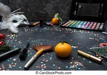 ブラシ, 影, 口紅, 装飾, イメージ, パレット, 黒, マンダリン, テーブル, クリスマス