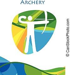 ブラジル, アーチェリー, オリンピック, 夏, paralympic, リオ, ゲーム, 抽象的