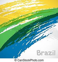 ブラジル, オリンピック, グランジ, ストローク, flag., 抽象的, ペンキ, カバー, デザイン, ...