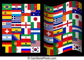 ブラジル, カップ, 国, 参加, 旗, 背景, 世界, 黒