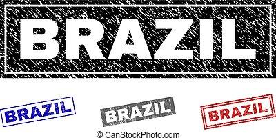 ブラジル, グランジ, 切手, シール, textured, 長方形