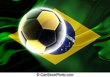 ブラジル, サッカー, 旗, 波状