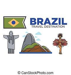 ブラジル, セット, アイコン, 文化, 魅力, 旅行, 有名, ベクトル, ランドマーク