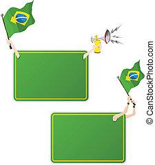 ブラジル, セット, flag., フレーム, 2, メッセージ, スポーツ